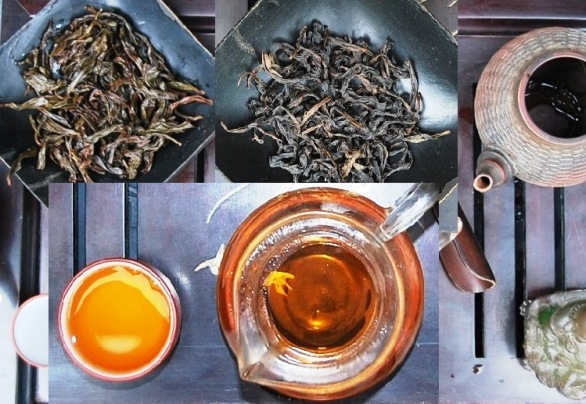 Dry & wet leaves + bright golden liquor of Da Hong Pao Oolong tea