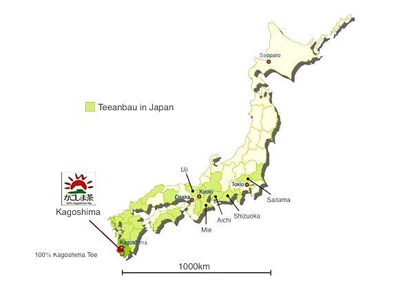 Map of Japanese tea cultivation regions: Kagoshimaja