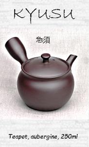 Kyusu teapot, aubergine, 250ml, clay, handmade