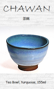 Japanese (Chawan) teacup, turquoise, 155ml