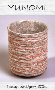 Japanese tea mug (Yunomi), coral/grey, 220ml
