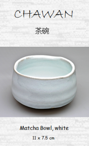 Japanese Matcha Tea Bowl, white, ceramic handicraft, 11 x 7.5 cm