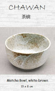 Matcha Tea Bowl, white-brown, ceramic handicraft, 13 x 8 cm