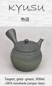Japanese Sidearm Teapot (Kyusu), grey-green, 300ml, unique piece