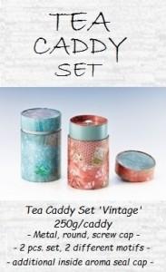Tea Caddy Set 'Vintage', 150g, 2-pcs set, - metal, round, screw cap