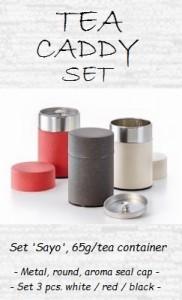 Tea Caddy Set 'Sayo', 65g - metal, round, additional inside aroma seal cap