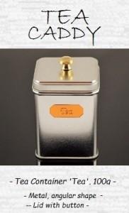 Tea Caddy 'Tea' 100g - metal, angular shape