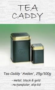 Classic Tea Box 'Avalon - metal, rectangular, black & gold