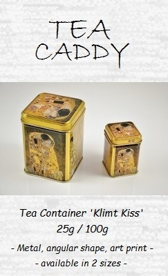 Tea Caddy 'Klimt Kuss' 25g / 100g - metal, angular shape