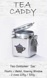 Tea Caddy Set 'Isa' - metal, round, aroma seal lid
